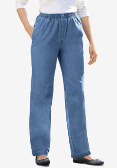 Elastic-Waist Cotton Straight Leg Pant, MEDIUM STONEWASH