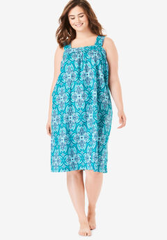 Print Sleeveless Square Neck Lounger by Dreams & Co.®, WATERFALL KALEIDOSCOPE