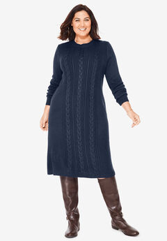 Cable Knit Sweater Dress, NAVY