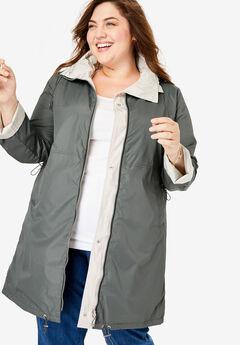Reversible Raincoat, OLIVE GREY SOFT SAND