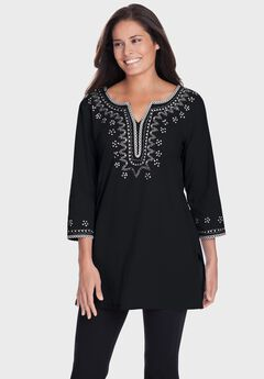 Tunic top with sequin embroidery,