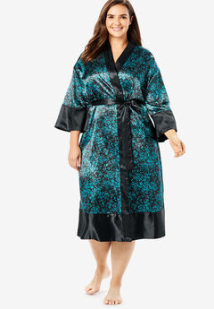 The Luxe Satin Belted Kimono by Amoureuse®, BLACK WATERFALL FLOWERS