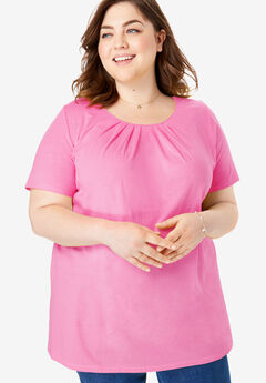 Pleat Neck Tee, VINTAGE ROSE