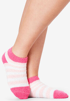 2-Pack Fuzzy Printed Ankle Socks by Comfort Choice®, HEART PACK