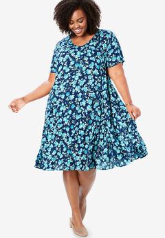 Short Crinkle Dress, EVENING BLUE BLOSSOM FLORAL
