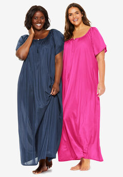 2-Pack Long Silky Gown by Only Necessities®, NAVY PINK BURST