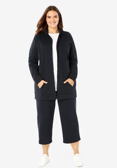 2-Piece Fleece Capri Set, BLACK