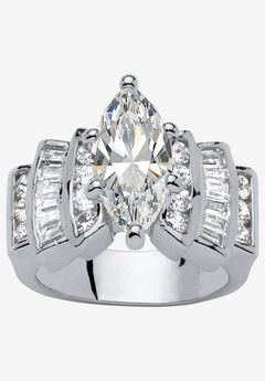 Silver Tone Marquise Cut Engagement Ring Cubic Zirconia,