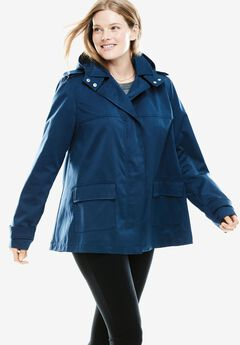 Short A-line Fleece Coat,