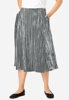 Crinkled Velour Panne Skirt, SLATE