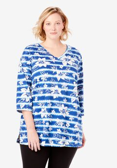 Perfect V-Neck Three-Quarter Sleeve Tunic,