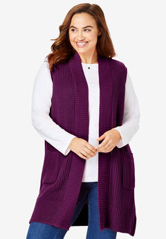 Open Front Shaker Sweater Vest,