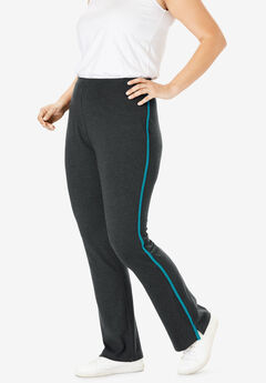 Stretch Cotton Side-Stripe Bootcut Yoga Pant, HEATHER CHARCOAL DEEP TURQUOISE