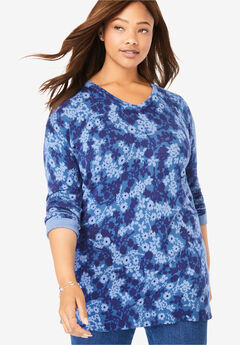 Perfect Cotton V-Neck Sweater, BLUE FLORAL