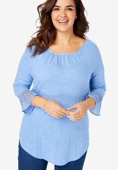 Crochet Sleeve Linen Tunic,