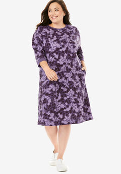 Fleece Sweatshirt Dress, SWEET GRAPE PLAYFUL FLORAL