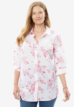 Perfect Three-Quarter Sleeve Print Button Down Shirt,