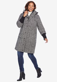 Rib-Knit Trim Wool Coat,