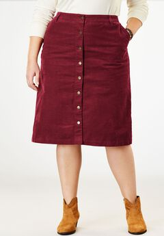 Button-Front Corduroy Skirt,