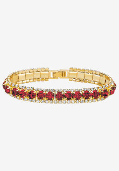 """Gold Tone Tennis Bracelet (10mm), Round Birthstones and Crystal, 7"""","""