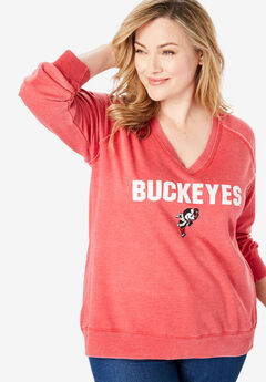 NCAA Team Washed V-Neck Fleece Sweatshirt,