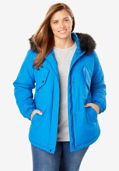 Fur Trim Hooded High-Low Taslon® Parka,