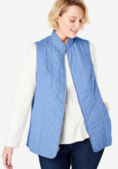 Zip-Front Quilted Vest, FRENCH BLUE