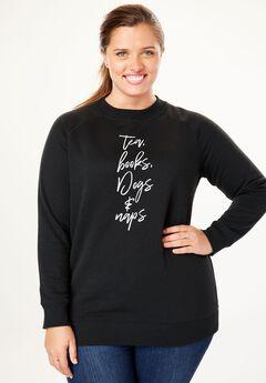 Wide Scoop Neck Graphic Sweatshirt,