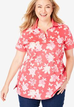 Perfect Printed Polo Shirt, VIBRANT ROSE BUTTERFLY FLORAL