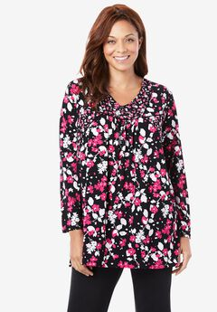 Piped Detail Ruched Tunic,