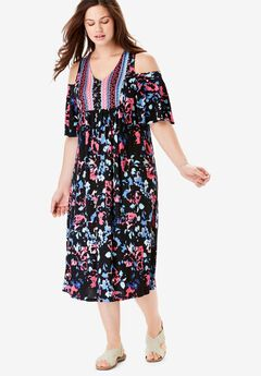 Cutout Shoulder V-Neck Dress by Chelsea Studio®,