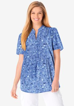 Pintucked Half-Button Tunic,