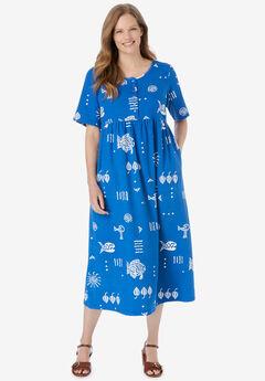 Stamped Empire Waist Dress, BRIGHT COBALT STAMPED PRINT