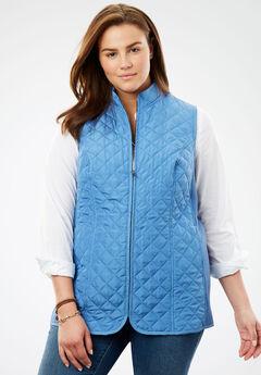 Diamond-Quilted Zip Front Vest,