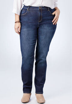 Perfect Straight Leg Jean, DARK STONEWASH SANDED