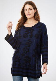 Floral Pattern Knit Sweater,