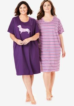 2-Pack Short-Sleeve Sleepshirt by Dreams & Co.®, LIGHT ORCHID STRIPE