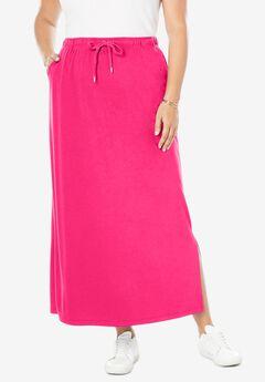 Sport Knit Side-Slit Skirt,
