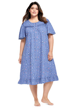 Short Floral Print Cotton Gown by Dreams & Co.®, FRENCH LILAC FLOWERS