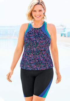 Colorblock Tankini Top with Sun Protection by Swim 365,