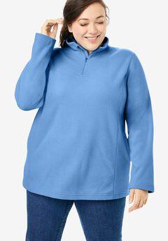 Quarter-Zip Microfleece Pullover, HORIZON BLUE