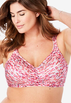 Microfiber Wireless T-Shirt Bra by Comfort Choice®, PINK MULTI CONFETTI