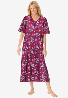 Long Print Sleepshirt by Dreams & Co.®, STRAWBERRY ROSE