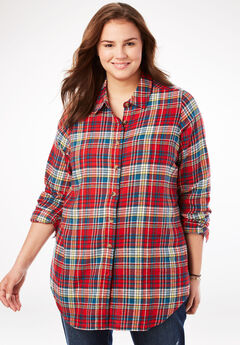 Classic Flannel Shirt, RED WHITE MULTI PLAID