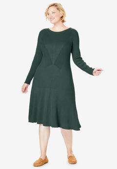 Rib Knit Sweater Dress, DEEP EMERALD