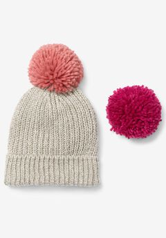 Big Pom-Pom Knit Beanie, OATMEAL HEATHER MULTI