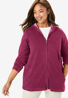 Hooded French Terry Jacket, DEEP CRANBERRY