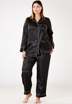 The Luxe Satin Pajama Set by Amoureuse®, BLACK
