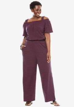 Short Sleeve Off-The-Shoulder Jumpsuit,
