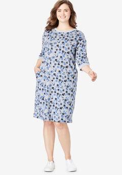 Fleece Sweatshirt Dress, FRENCH BLUE DAISY SHADOW
